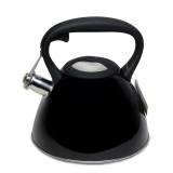 Чайник 3 л из нержавеющей стали со свистком и черной бакелитовой ручкой Kamille 0651B (черный)