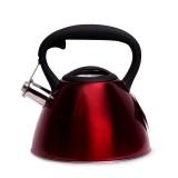 Чайник 3 л из нержавеющей стали со свистком и черной бакелитовой ручкой Kamille 0651C (красный)
