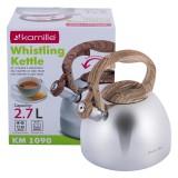 Чайник 2.7 л из нержавеющей стали со свистком и бакелитовой ручкой Kamille 1090