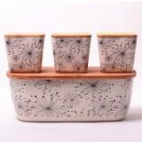 Хлебница 36х20.2х13.5см из бамбукового волокна с бамбуковой крышкой и с 3 емкостями 11х11х10.6см Kamille 1131