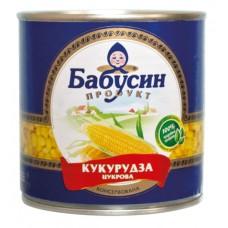 """Кукуруза консервированная """"Бабусин продукт"""" 340 г в жестяной банке ASP"""