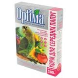 Полноценный корм для ожереловых попугаев, неразлучников, розелл, сенегалов и других средних попугаев 500 г Optima (картон)