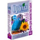 Полноценный корм с витаминами и минералами для волнистых попугаев, неразлучников, корелл и других мелких попугаев 500 г Optima Йод (картон)