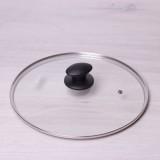 Крышка стеклянная 28см с металлическим ободком Kamille 0648L