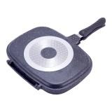 "Cковорода-гриль двухсторонняя 32х24 см с антипригарным мраморным покрытием ""Black Marble"" Kamille 4432"
