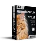 Капли для кошек от блох и клещей на холку 4-8 кг (имидаклоприд)/10 premium Unicum UN-005