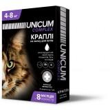 Капли для кошек 4-8 кг от блох, клещей и гельминтов на холку Unicum premium UN-030 (4 пипетки)