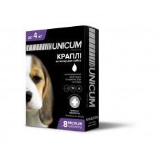Капли для собак 0-4 кг от блох, клещей и гельминтов на холку Unicum premium UN-031 (4 пипетки)