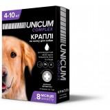 Капли для собак 4-10 кг от блох, клещей и гельминтов на холку Unicum premium UN-032 (4 пипетки)