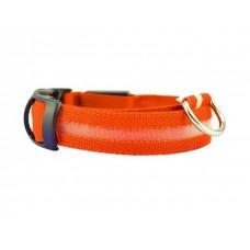 Ошейник светодиодный ширина 2.5 см (32-50 см) M Fox LED-M ORANGE (оранжевый)