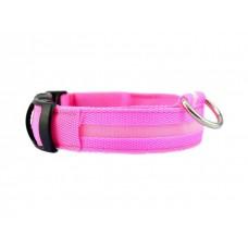 Ошейник светодиодный ширина 2.5 см (32-50 см) M Fox LED-M PINK (розовый)
