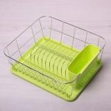 Сушилка для посуды с хромированным покрытием 37*33*13.5см с поддоном(зеленый) Kamille 0763A