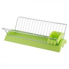 Сушилка для посуды Kamille 41.5х26х11.5см хромированная сталь с зеленым поддоном KM 0769B