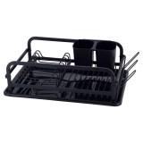 Сушилка для посуды Kamille 41х28х13.5см черная алюминиевая с поддоном KM 0752