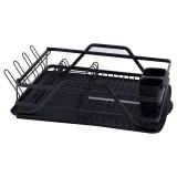 Сушилка для посуды Kamille 59х38х13см черная алюминиевая с поддоном KM 0751