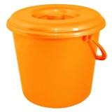 Ведро пластиковое круглое с крышкой и пластиковой ручкой на 5 л Алеана 122005 оранжевое