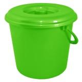 Ведро пластиковое круглое с крышкой и пластиковой ручкой на 10 л Алеана 122010 оливковое