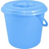 Ведро пластиковое круглое с крышкой и пластиковой ручкой на 14 л Алеана 122014 голубое