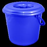 Ведро пластиковое круглое с крышкой и пластиковой ручкой на 10 л Алеана 122010 синее