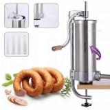 Шприц для начинки колбас вертикальный 3 кг из нержавеющей стали с насадками 15 мм, 19 мм, 22 мм, 25 мм Kamille 6509